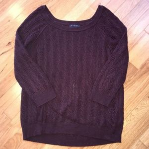American eagle size L 3/4 sleeve burgundy sweater